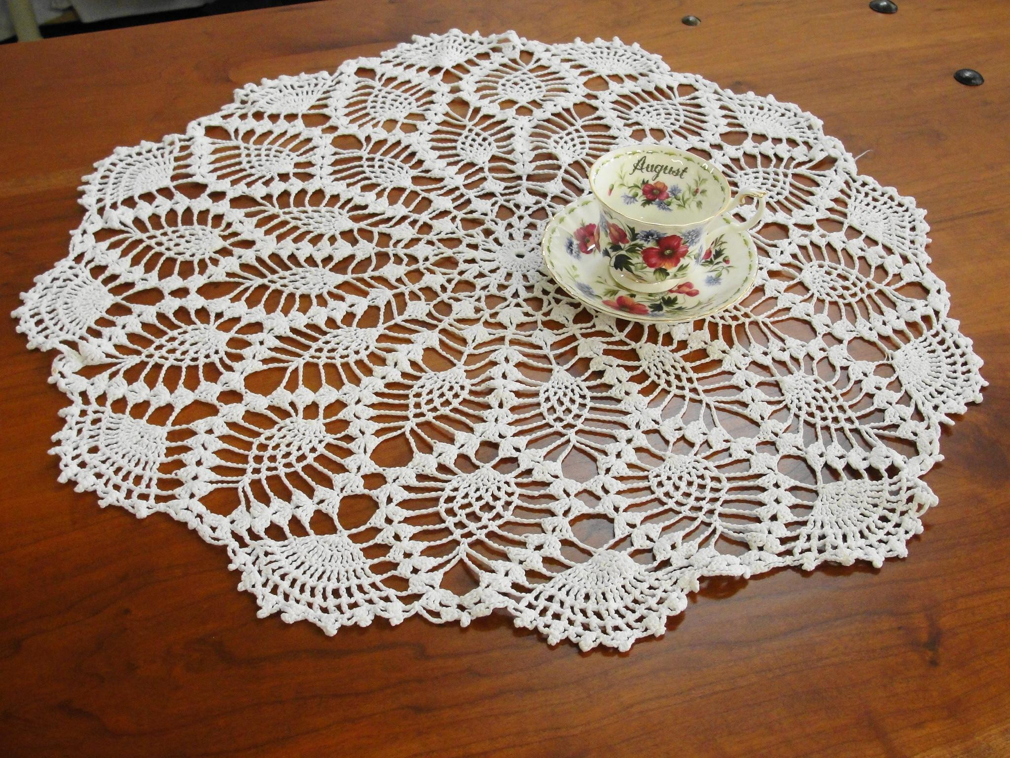 Large Doilies Lovely Vintage Round Crocheted White Doily From Of Amazing 40 Ideas Large Doilies
