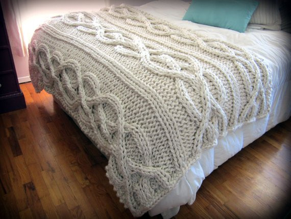 Luxury Oversized Cable Knit Blanket MADE TO ORDER by