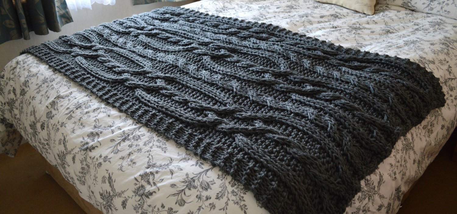 Large Knit Blanket Luxury Chunky Cable Hand Knit Blanket Throw Cinder Grey Of New 40 Images Large Knit Blanket