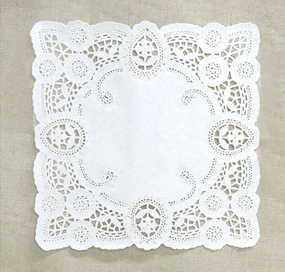 10 square shaped paper doily 8inch 20cm
