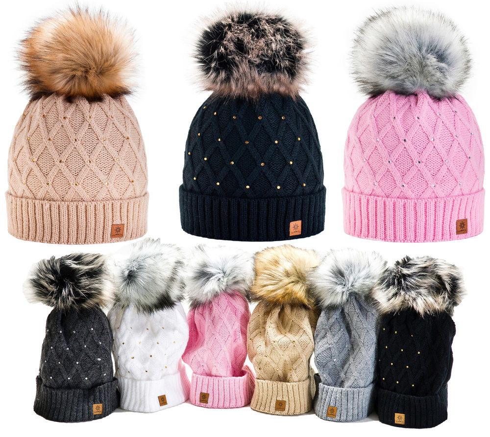 Large Pom Poms Lovely Women Winter Beanie Hat Knitted Crystal La S Fashion Of Beautiful 49 Photos Large Pom Poms