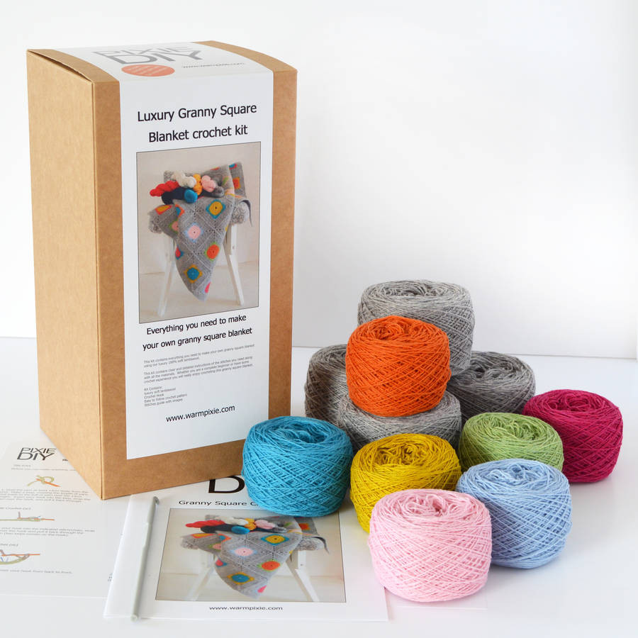 luxury granny square crochet blanket kit by warm pixie diy
