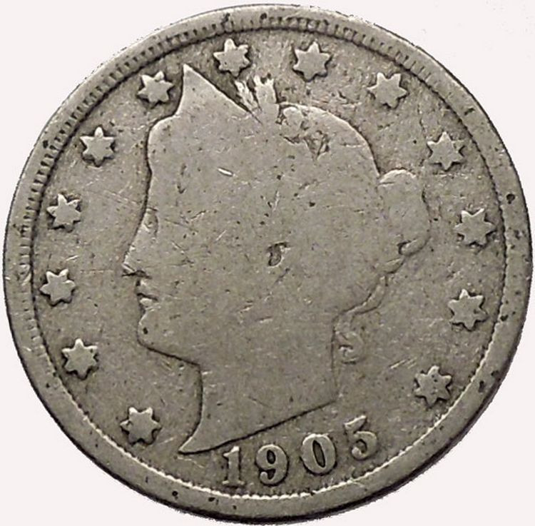 1905 LIBERTY HEAD NICKEL 5 Cent United States of America