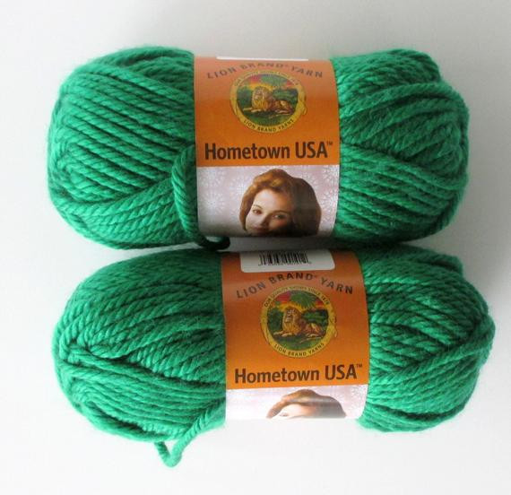 Hometown Bulky Yarn Lion Brand Green Bay Two Skeins DIY Crafts