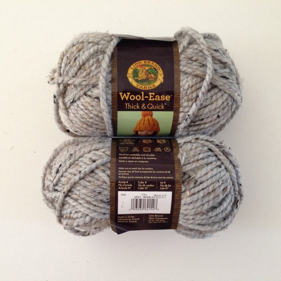 Lion Brand Wool Ease Thick and Quick Yarn Super Bulky Grey