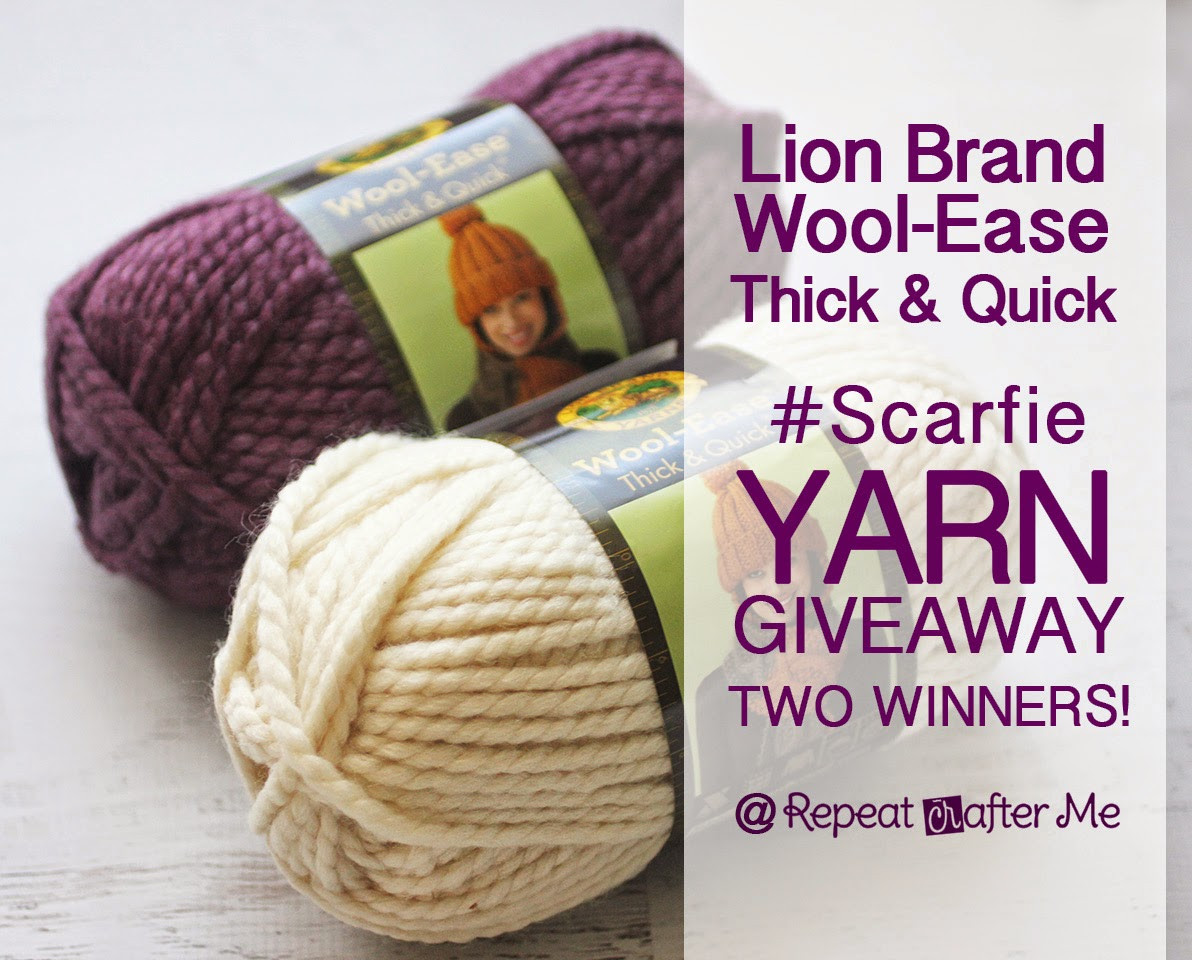 Lion Brand Wool Ease Thick & Quick Yarn Giveaway Scarfie