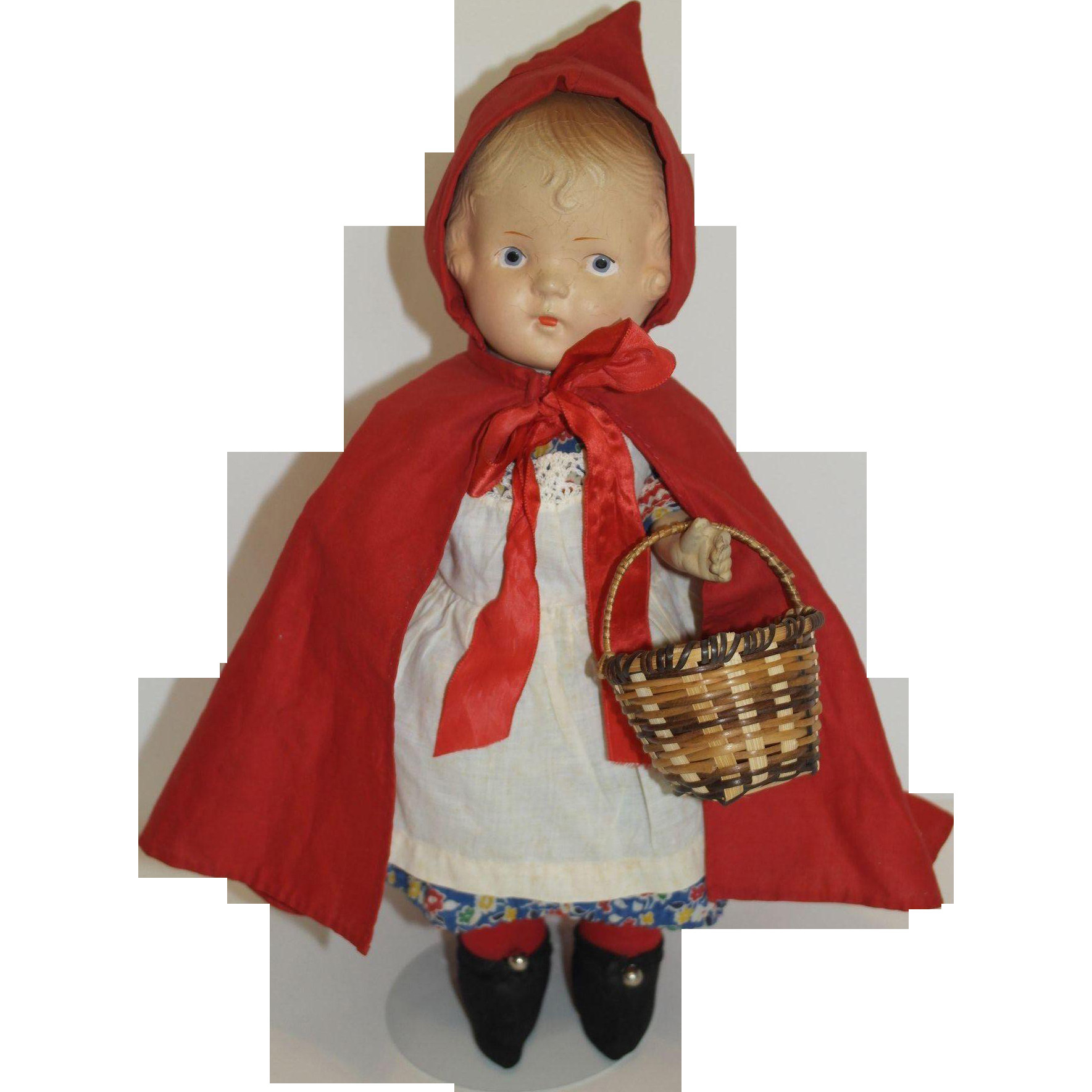 1930 s Little Red Riding Hood Doll from debscedarchest on