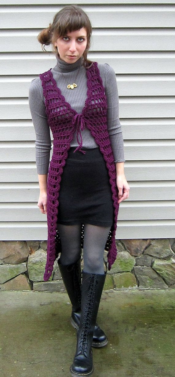 Long Crochet Vest Best Of Items Similar to Retro Purple Crochet Vest Long Midi Of Beautiful 46 Ideas Long Crochet Vest