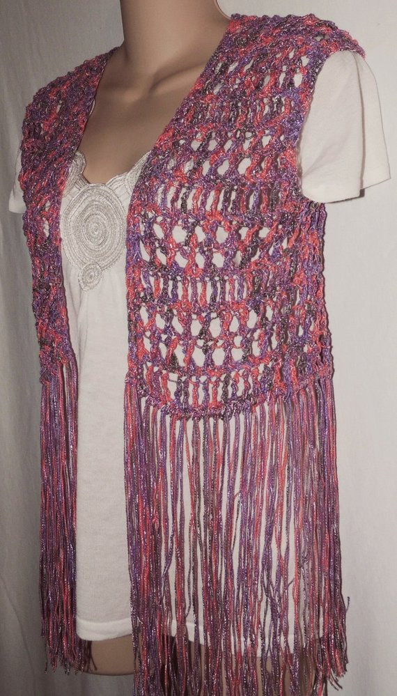 PDF Crochet Pattern for Long Fringe Vest or Swimsuit Cover 3