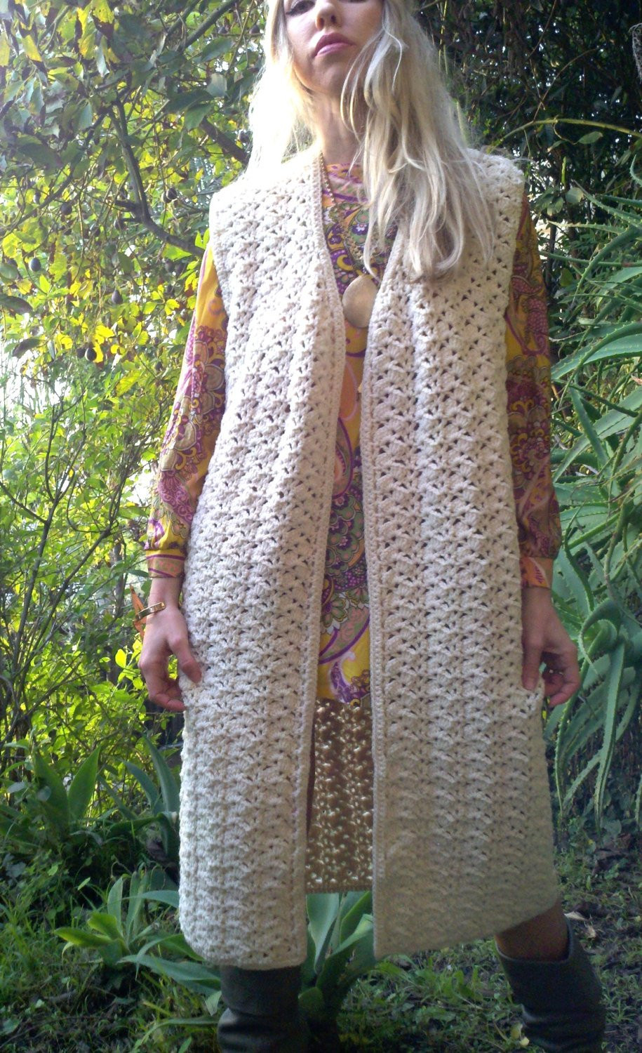 Long Crochet Vest Elegant Vintage 70s Long Ivory Crochet Vest Maxi Vest Coat Of Beautiful 46 Ideas Long Crochet Vest