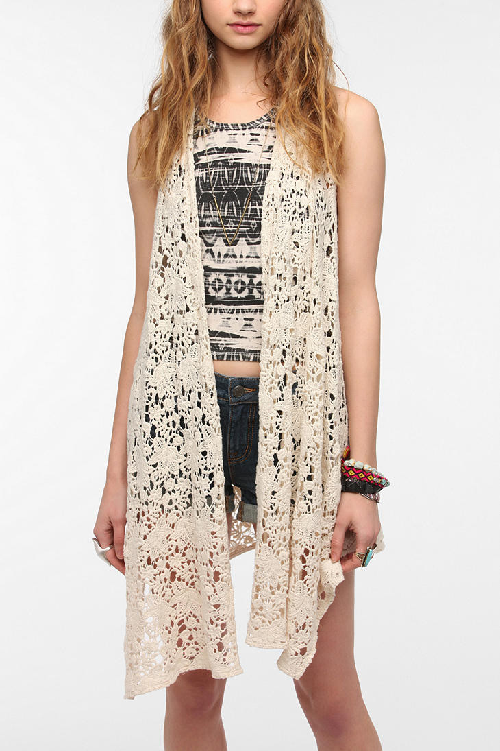 Long Crochet Vest Fresh Urban Outfitters Staring at Stars Drapey Crochet Vest In Of Beautiful 46 Ideas Long Crochet Vest