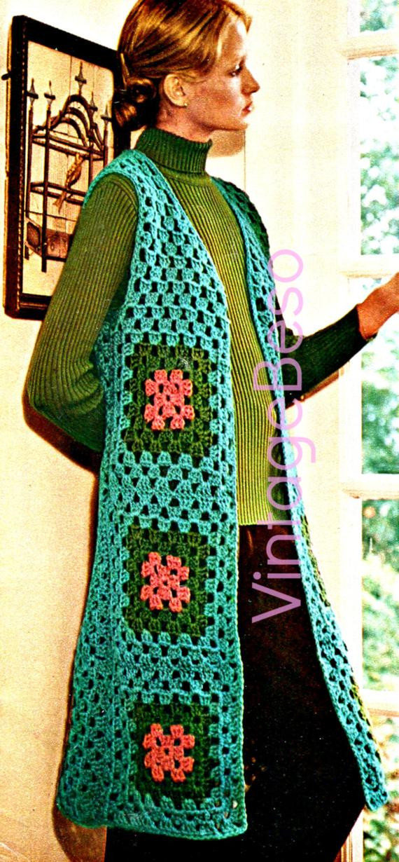 Long Crochet Vest Inspirational Vest Crochet Pattern Vintage 1970s Long Vest by Vintagebeso Of Beautiful 46 Ideas Long Crochet Vest