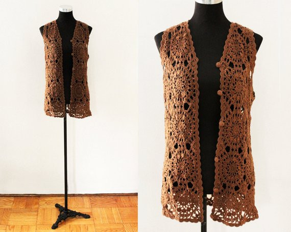 Long Crochet Vest Lovely Brown Crocheted Vest button Up Long Boho Open Knit Crochet Of Beautiful 46 Ideas Long Crochet Vest