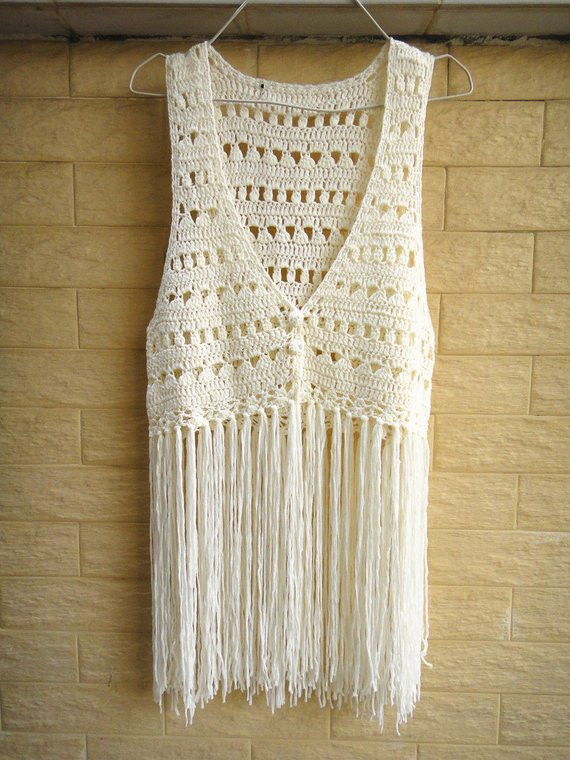 Long Crochet Vest Lovely Long Fringe Crochet Vest Beach Cover Up Music Festival top Of Beautiful 46 Ideas Long Crochet Vest