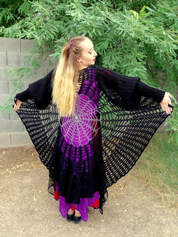 Long Crochet Vest Pattern Awesome Raven Wings Spiderweb Mandala Tunic Vest and Gauntlets 3 Of Attractive 35 Pictures Long Crochet Vest Pattern