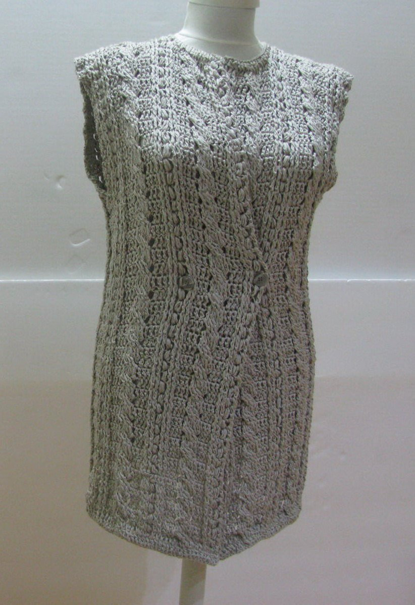 Beige vest crochet vest sleeveless Beige long Cardigan