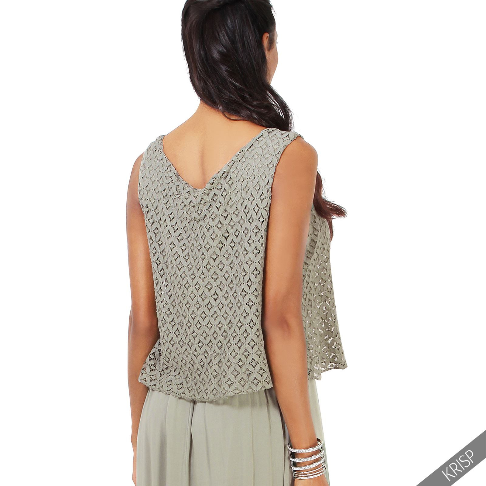 Women La s Oversize Crochet Vest Top Long Maxi Dress