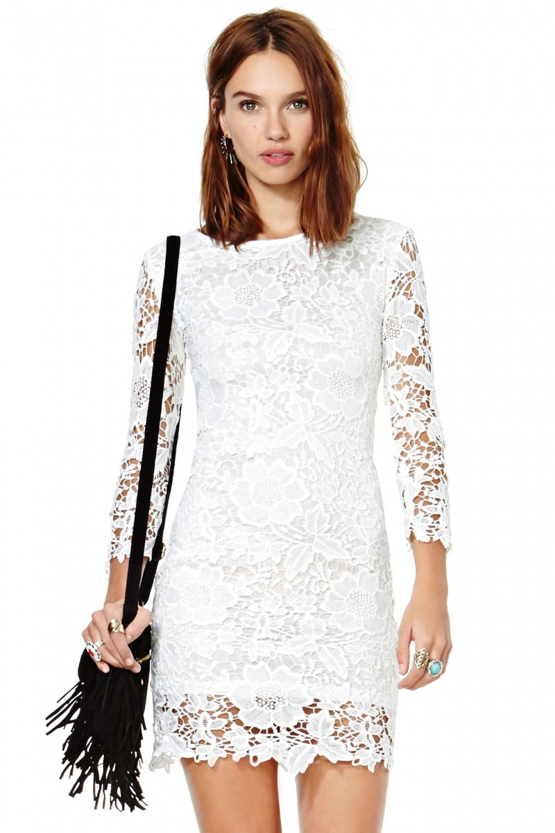 White Long Sleeve Floral Crochet Lace Dress abaday