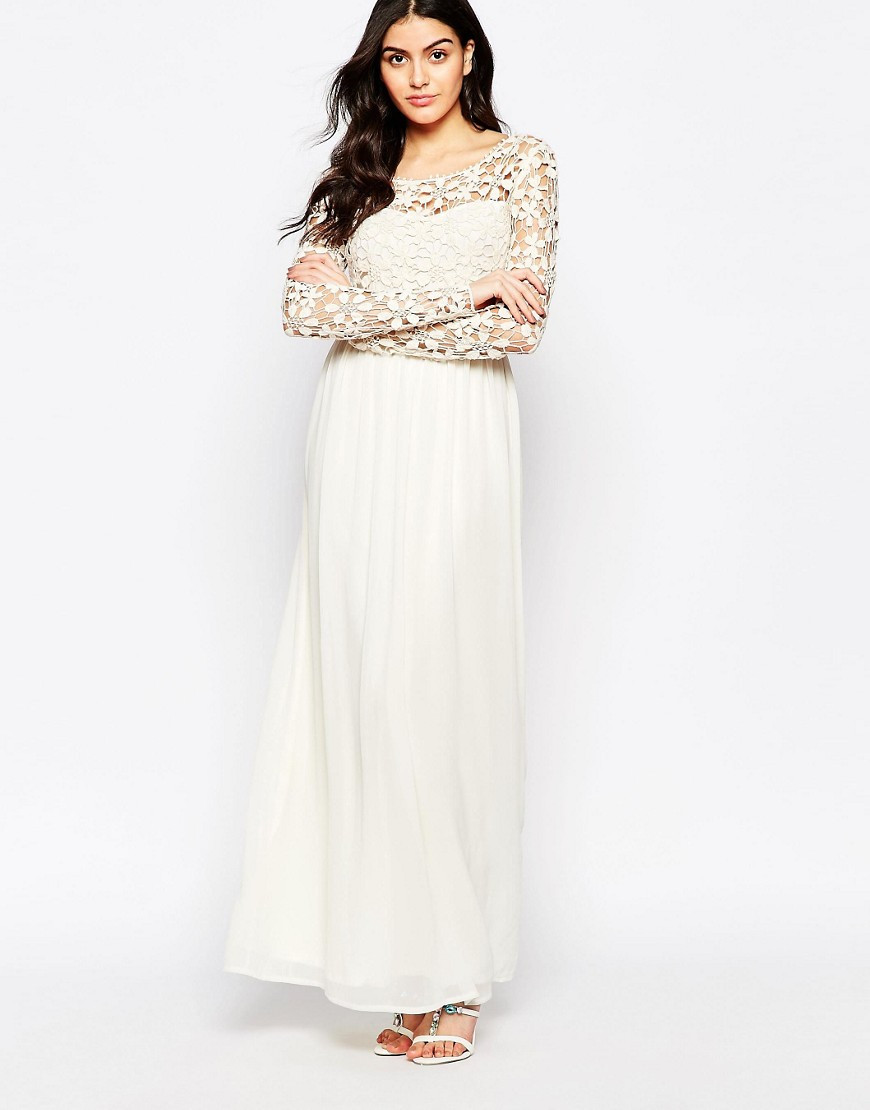 club l occasion crochet maxi dress with long sleeves