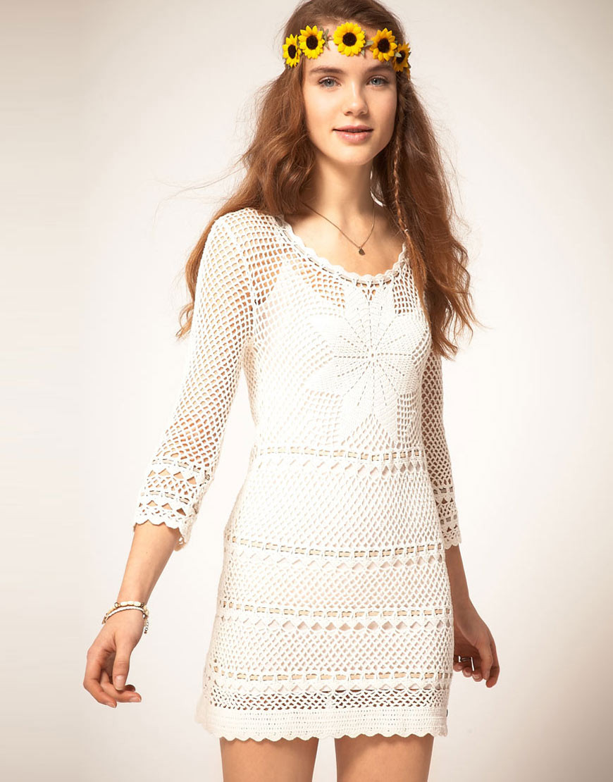 Pepe jeans Pepe Jeans Crochet Dress with Long Sleeves in