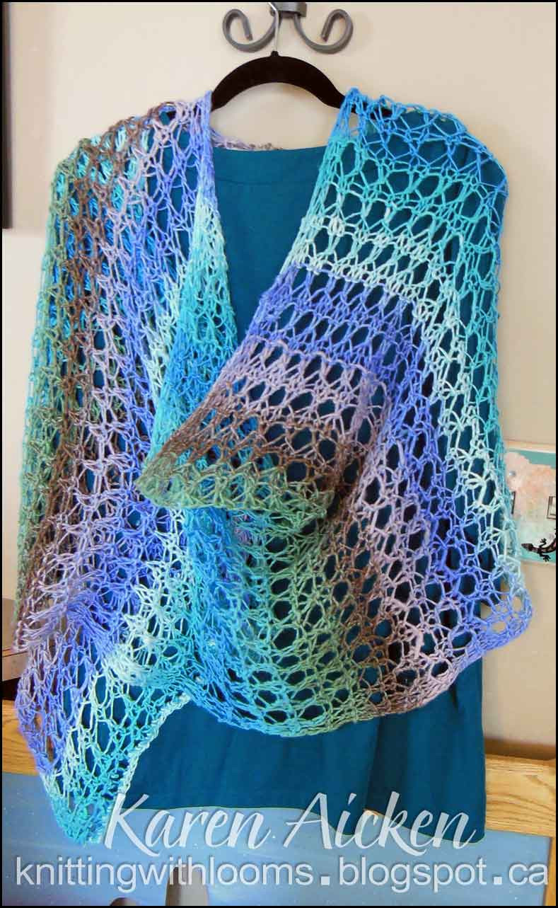 Knitting With Looms Finished Waves of Lace Shawl