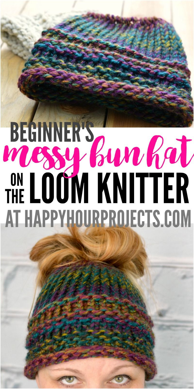 Loom Knit Hat Fresh Beginners Messy Bun Hat Using the Loom Knitter at Of Lovely 45 Ideas Loom Knit Hat