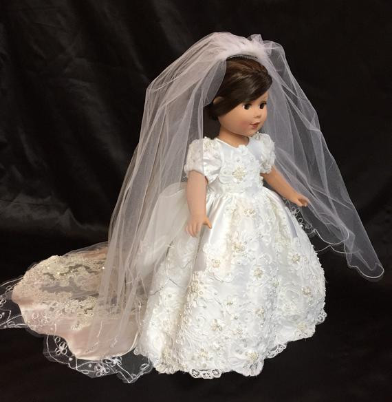 Lovely 18 In American Girl Doll 2 Piece Wedding Dress and Veil One American Girl Doll Wedding Dress Of Beautiful American Girl Doll Wedding Dress Satin and Silver American Girl Doll Wedding Dress