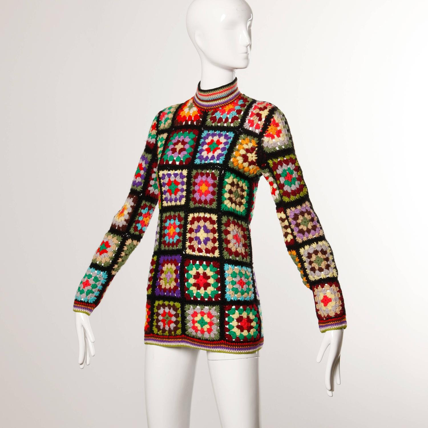 Lovely 1970s Vintage Adolfo Hand Crochet Wool Granny Squares Granny Square Sweater Of Superb 45 Photos Granny Square Sweater
