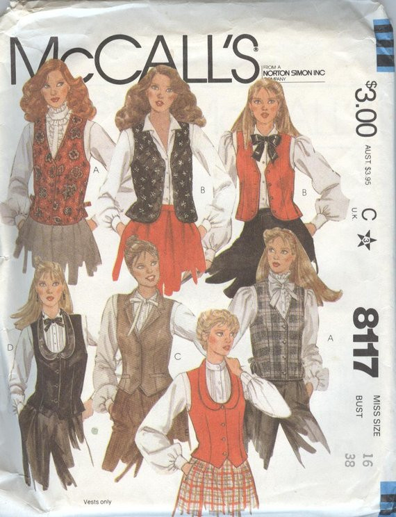 Lovely 1980s Womens Vest Patterns Mccalls 8117 Sewing Pattern Vests Womens Vest Pattern Of Amazing 46 Ideas Womens Vest Pattern