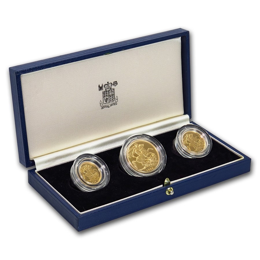Lovely 1988 Great Britain 3 Coin Gold sovereign Proof Set Proof Sets Of Great 40 Photos Proof Sets