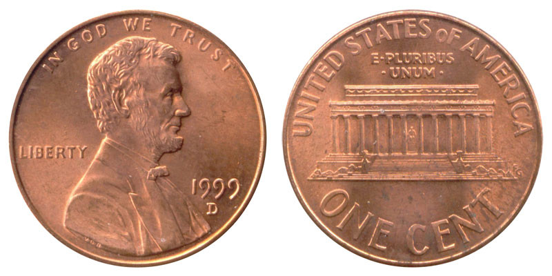 1999 D Lincoln Memorial Cent Copper Plated Zinc Penny