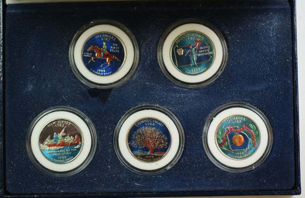 Lovely 5 Coin 1999 P Colorized State Quarter Set Inaugural State Quarter Set Of Superb 44 Pictures State Quarter Set