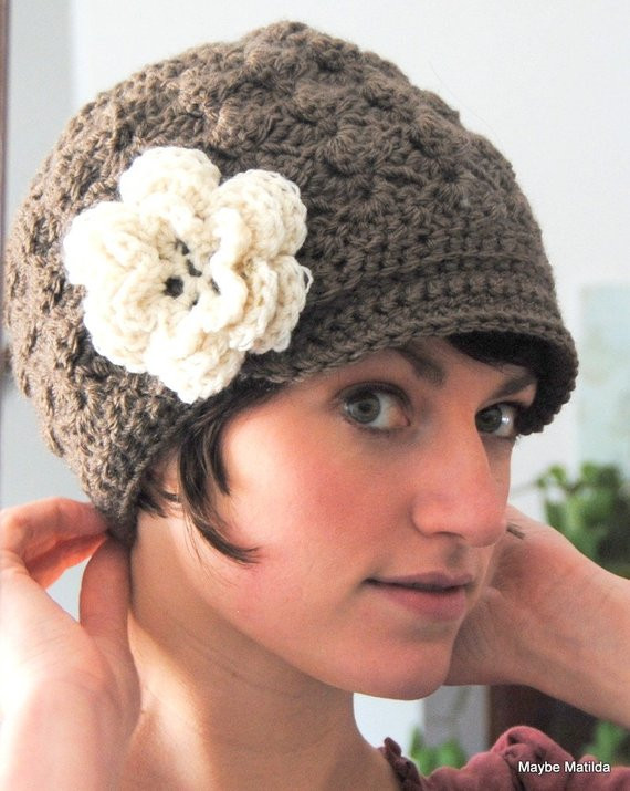 Lovely Adult Crochet Brimmed Beanie Shell Hat with Flower by Crochet Hat with Brim Pattern Of Contemporary 46 Photos Crochet Hat with Brim Pattern