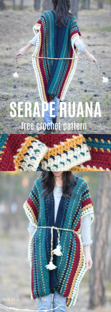 Lovely All the Colors Serape Crocheted Ruana Pattern – Mama In A Free Crochet Ruana Pattern Of Amazing 46 Ideas Free Crochet Ruana Pattern