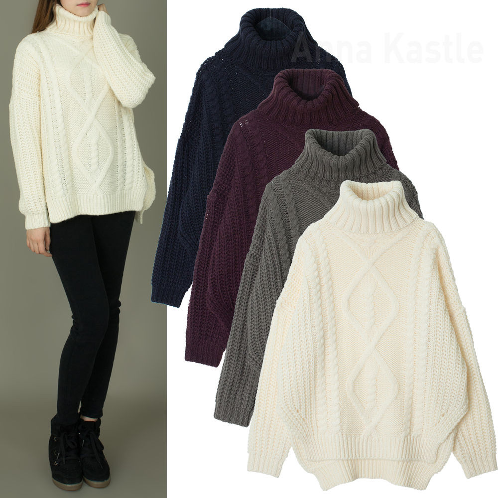 AnnaKastle Womens Turtleneck Chunky Cable Knit Pullover
