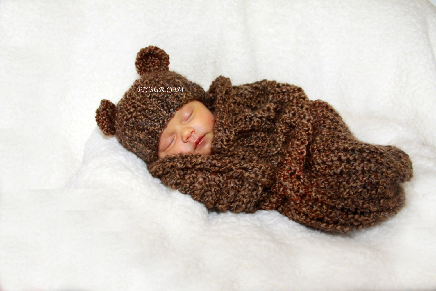 Lovely Barley Brown Knit Newborn Baby Cocoon and Bear Hat Set Knitted Baby Cocoon Of Marvelous 42 Photos Knitted Baby Cocoon