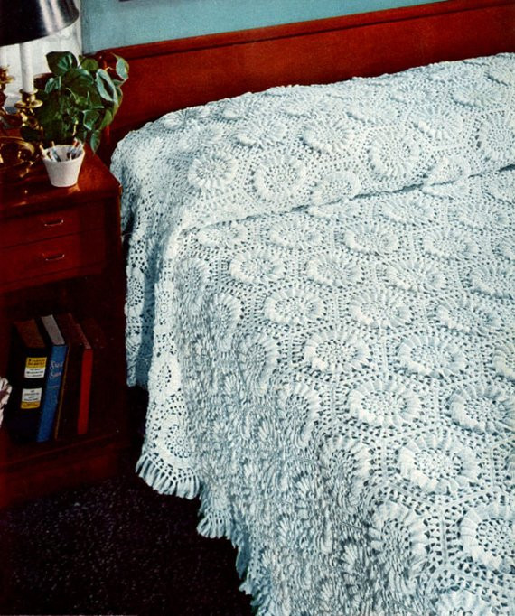 Beautiful Bedspread Crochet Pattern Vintage Sunflower