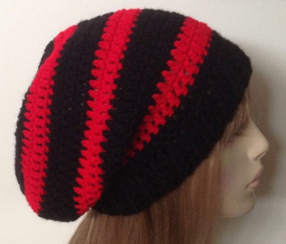 Black and Red Slouchy Beanie Dread Tam Crochet Hat by