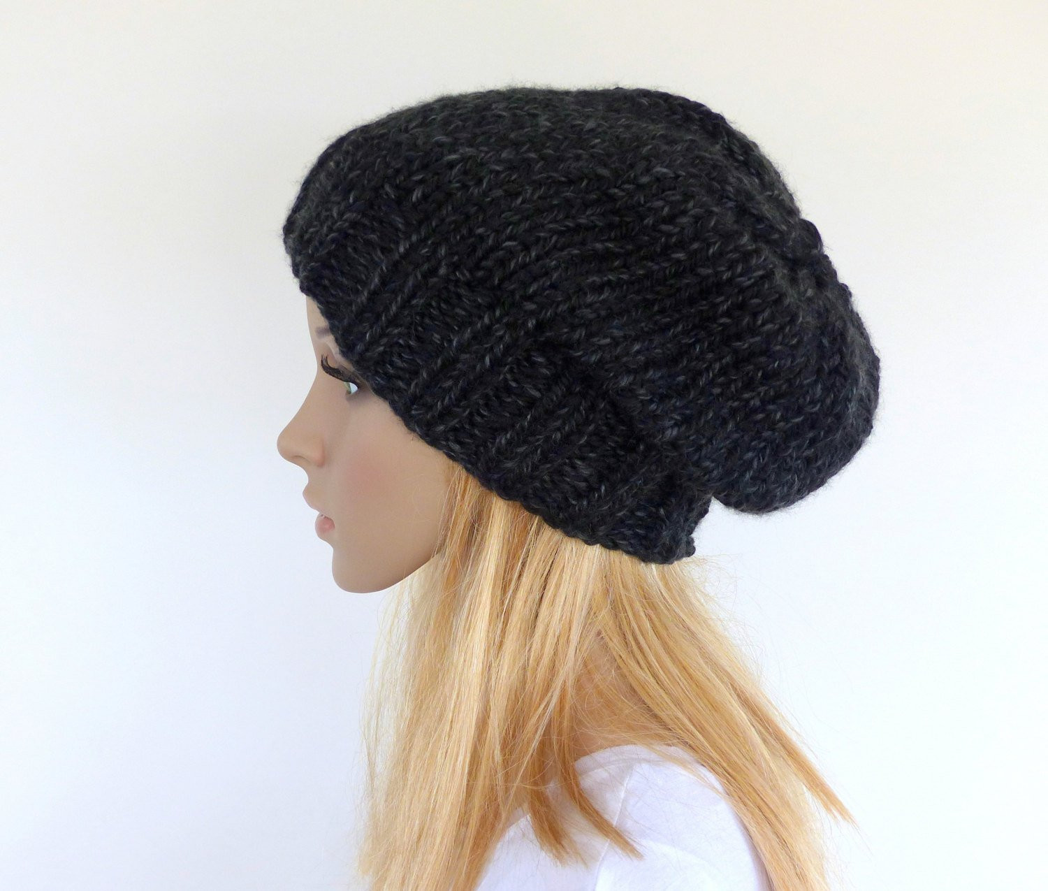 Lovely Black Chunky Knit Beanie Slouchy Hat Black Slouchy Beanie Knit Chunky Knit Hat Of Delightful 46 Pictures Chunky Knit Hat