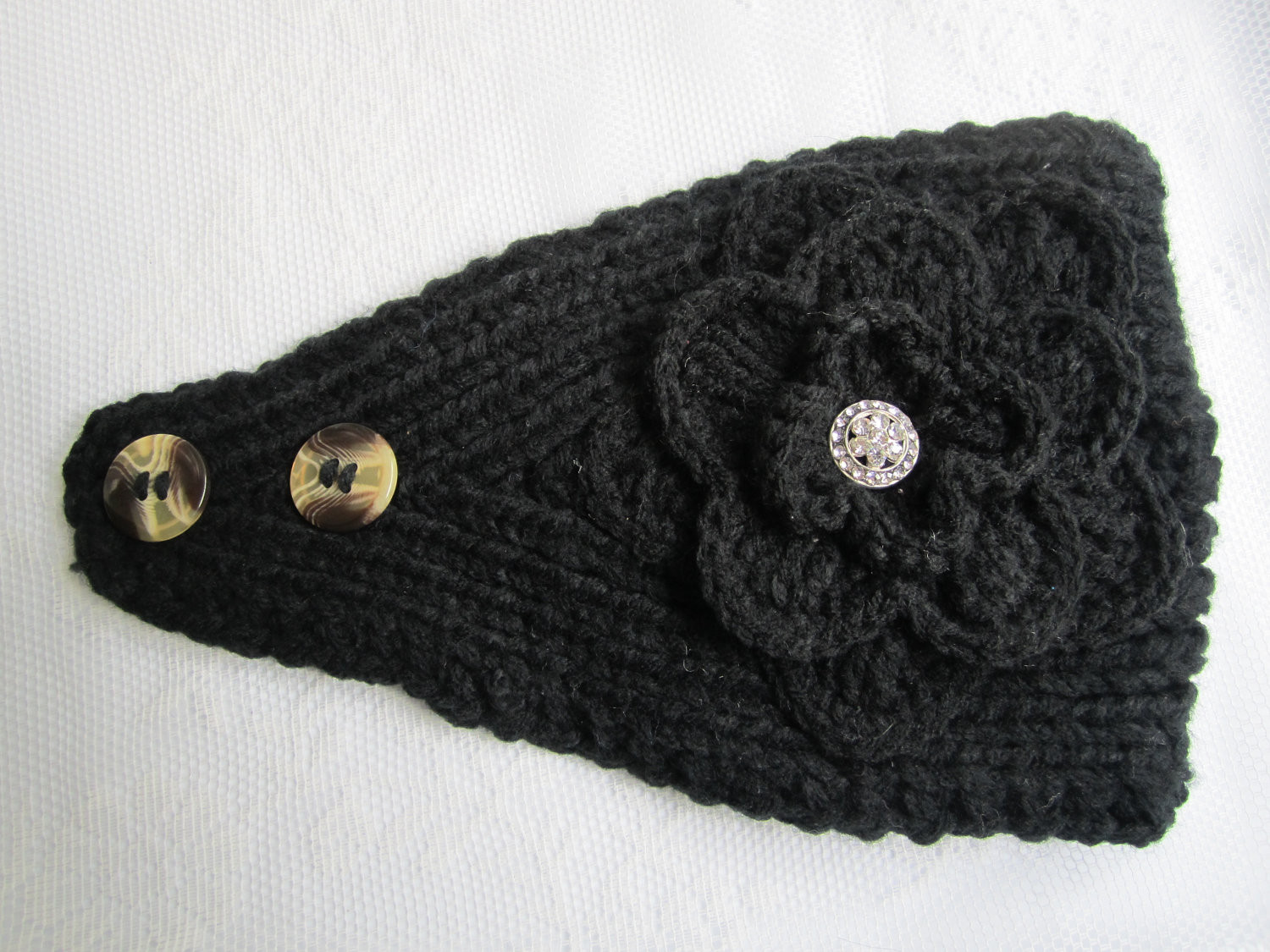 Lovely Black Knit Headband Ear Warmer with Crochet Flower and Knitted Ear Warmers Of Unique 50 Images Knitted Ear Warmers