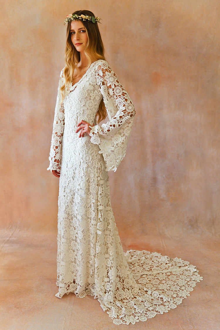 Lovely Boho Crochet Bell Sleeves Lace Gown Crochet Sleeve Of Top 48 Ideas Crochet Sleeve