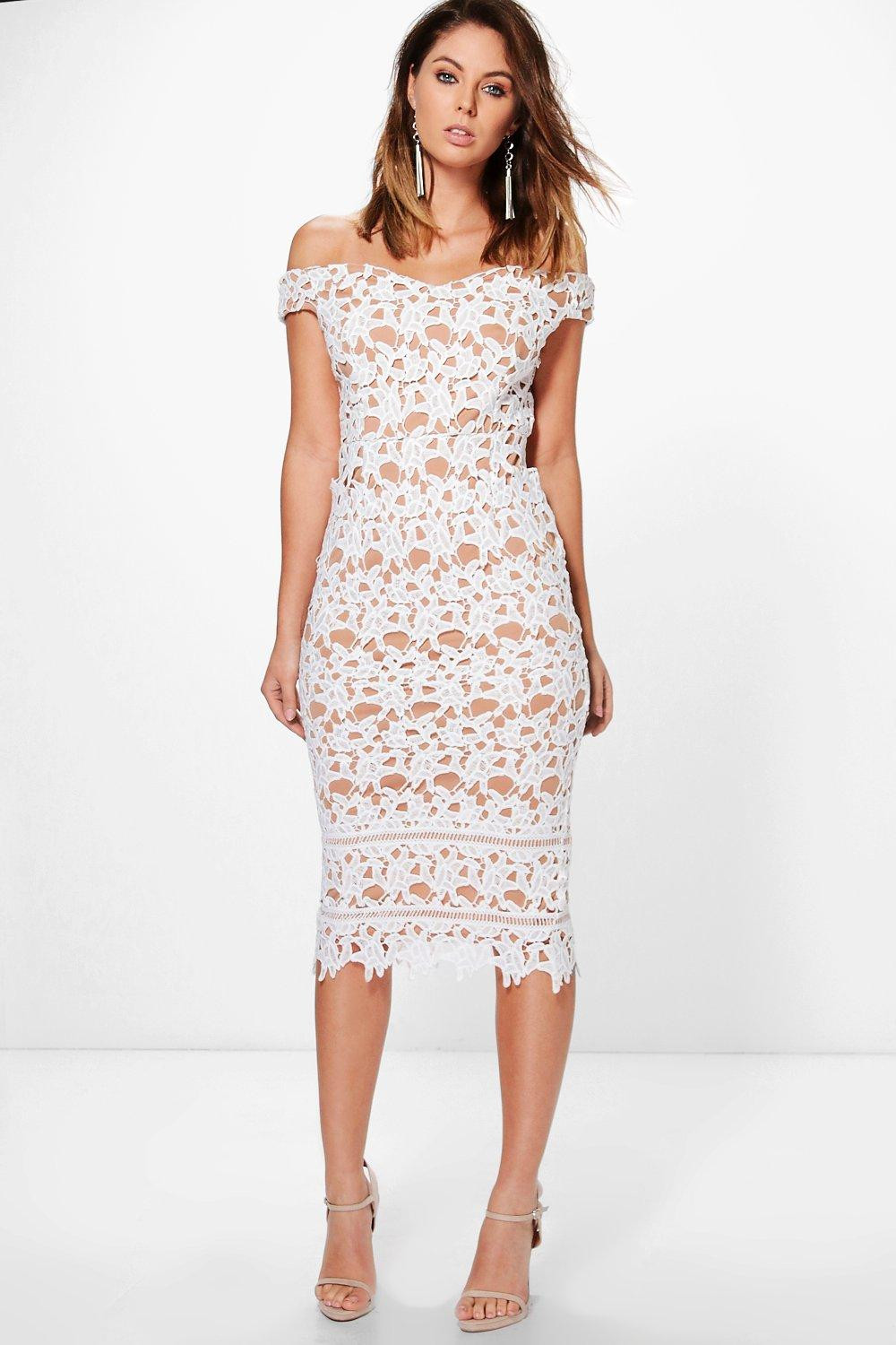 Lovely Boohoo Womens Boutique Lacey Crochet F Shoulder Midi Crochet Midi Dress Of Lovely Brielle Crochet Waisted Midi Dress In White Crochet Midi Dress