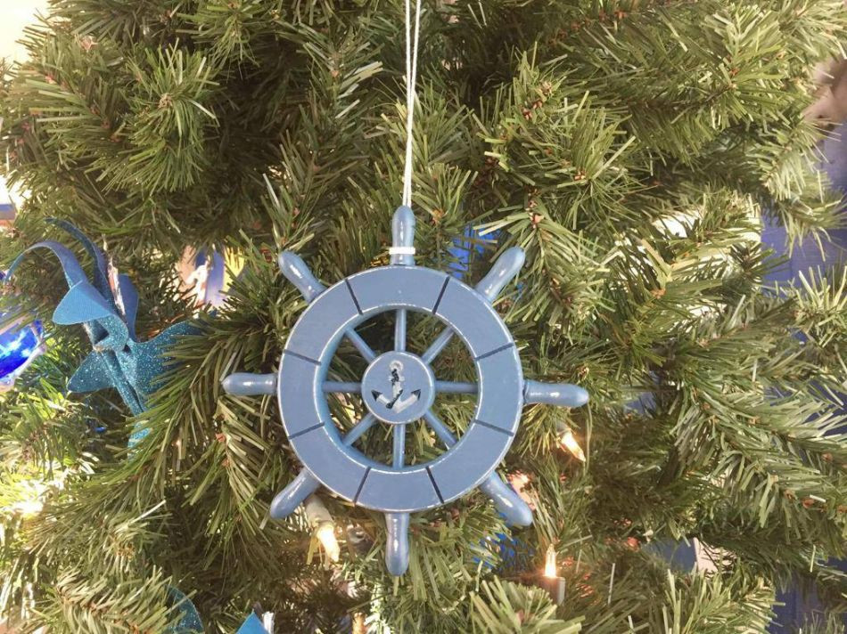 Buy Rustic Light Blue Decorative Ship Wheel With Anchor