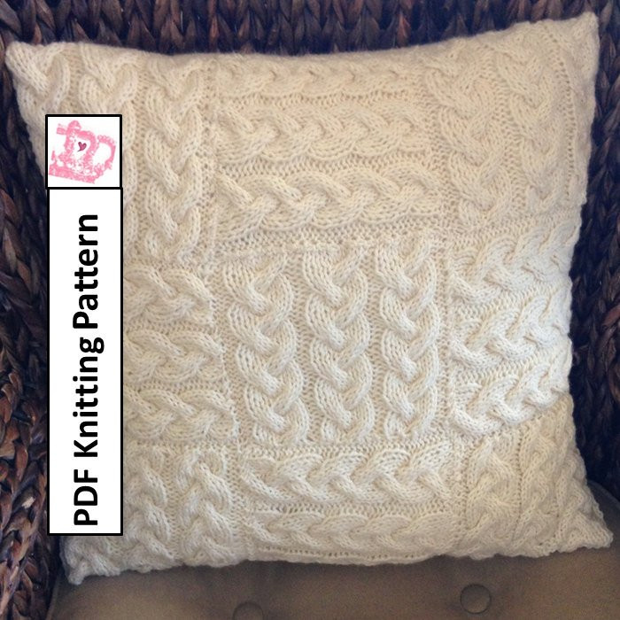 Cable knit pillow cover knit pattern pdf Braided Blocks