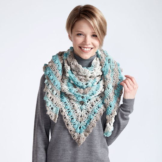 Caron Cotton Cakes Make A Point Crochet Shawl