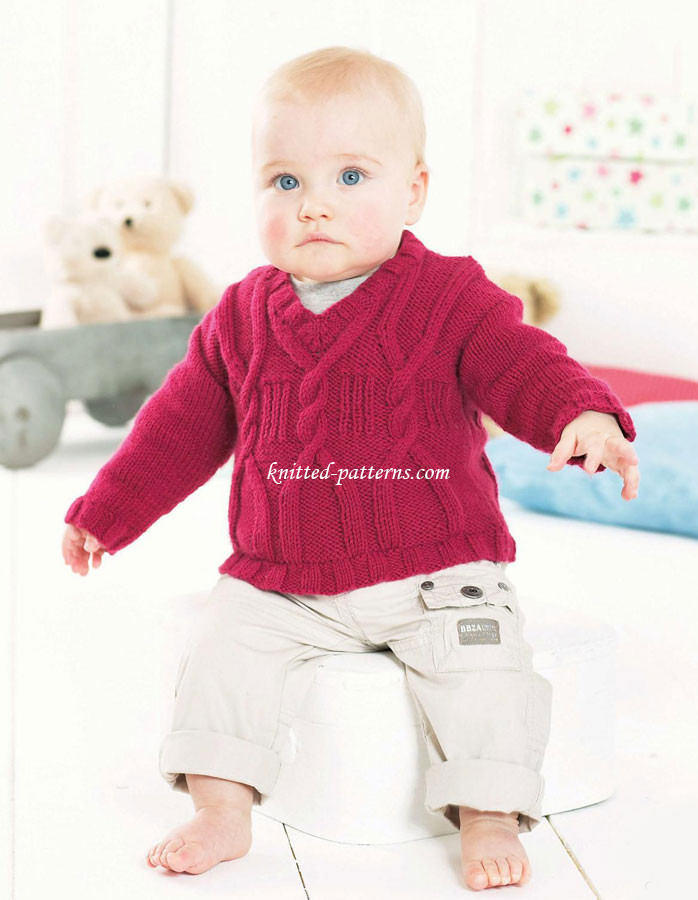 Child's cabled sweater
