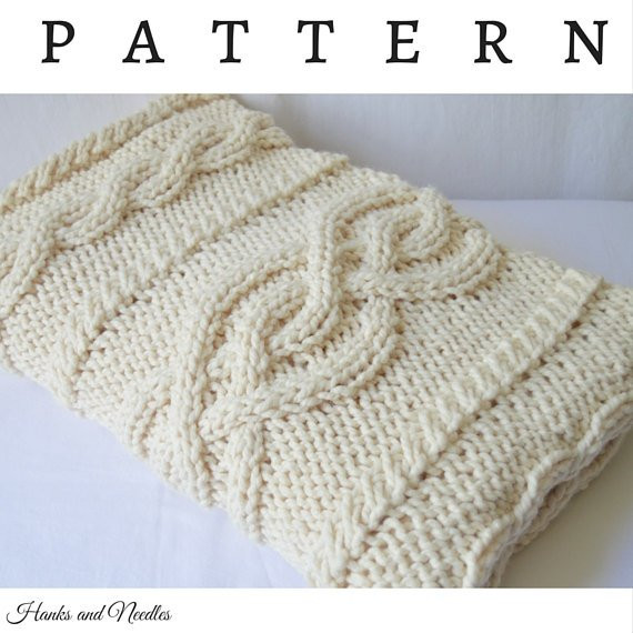 Lovely Chunky Knit Cable Throw Blanket Knitting Pattern Pdf Chunky Cable Knit Throw Of New 48 Images Chunky Cable Knit Throw