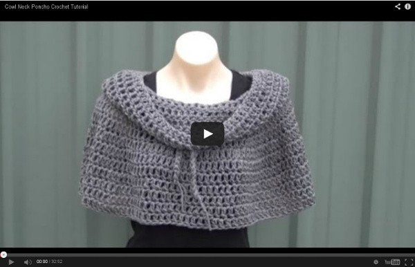 Cowl Neck Poncho Crochet Tutorial