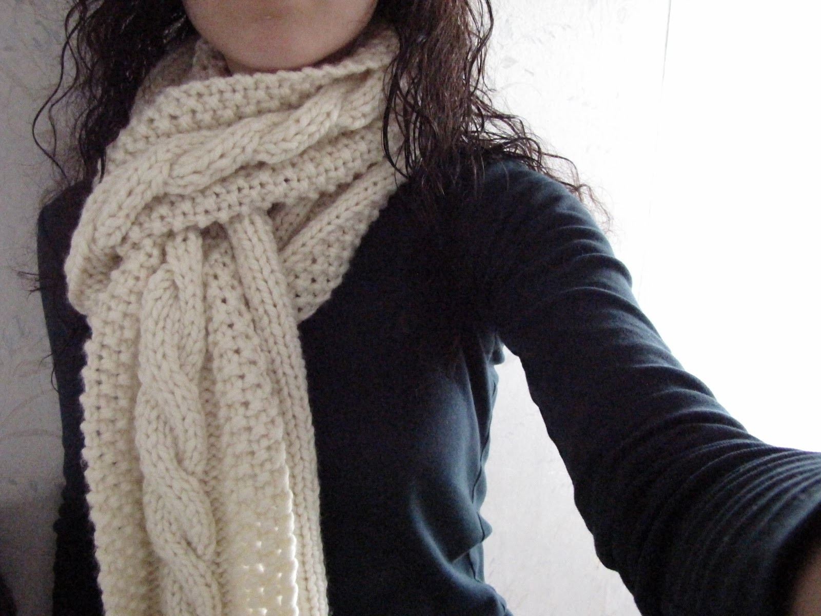 Cozy Wooly Cabled Scarf