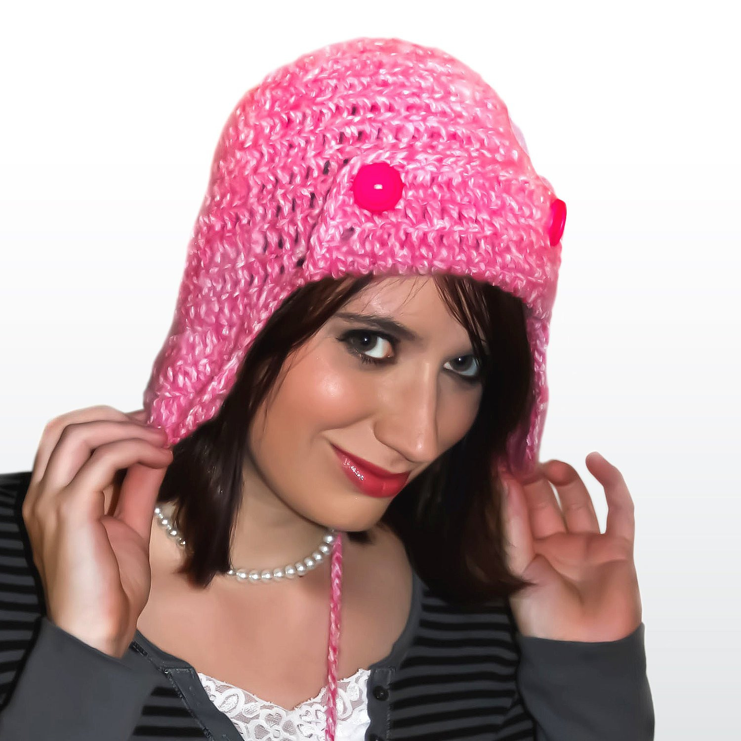 Lovely Crochet Aviator Ear Flap Bomber Beanie Hat In Pink Medium Pink Crochet Hat Of Great 43 Models Pink Crochet Hat